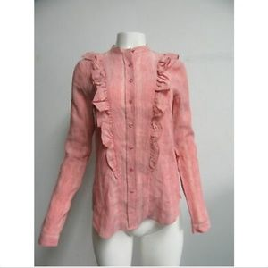 NWT $98 THE SHIRT pink ruffle button down shirt